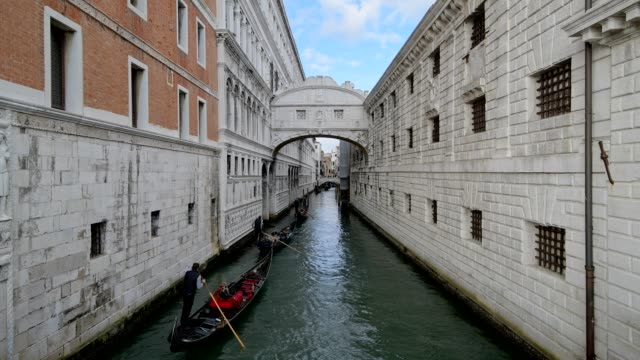 Bridge of Sighs with Gondolas, Venice, Venetian Lagoon, Veneto, Italy