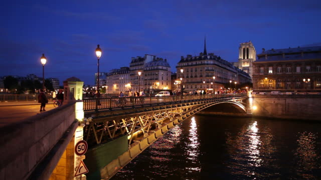 ws bridge on seine river at night / paris, france - river seine stock videos & royalty-free footage