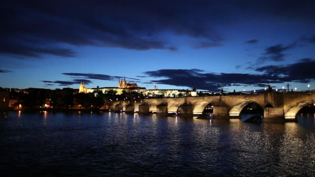 WS Bridge on Vltava River at dusk/ Prague, Czech Republic