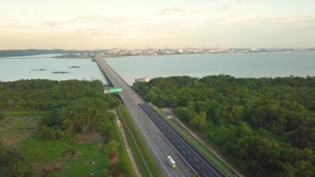 bridge over beautiful sea linked to island - johor stock videos & royalty-free footage