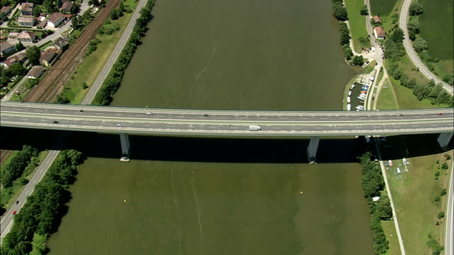a3 bridge over river danube - aerial view - bavaria,  helicopter filming,  aerial video,  cineflex,  establishing shot,  germany - overhead projector stock videos & royalty-free footage