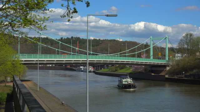 Bridge over Saar river in Mettlach, Saarland, Germany
