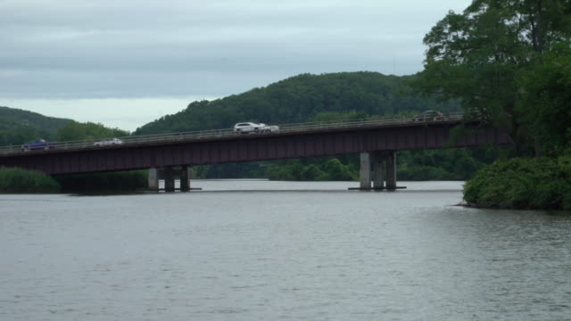 bridge over the hudson river in peekskill, ny - hudson river stock videos & royalty-free footage