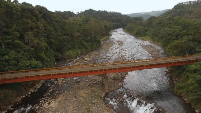 AERIAL Bridge over the river in Costa Rica