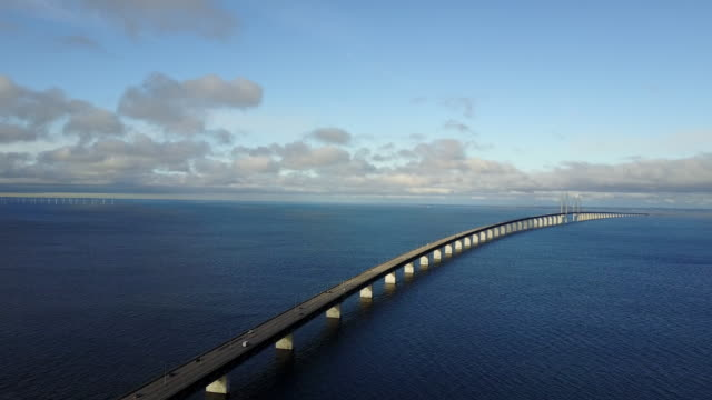 bridge over the sea - olesund bridge between denmark and sweden - long stock videos & royalty-free footage
