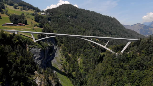 bridge over the tamina valley in the swiss alps - valley stock videos & royalty-free footage