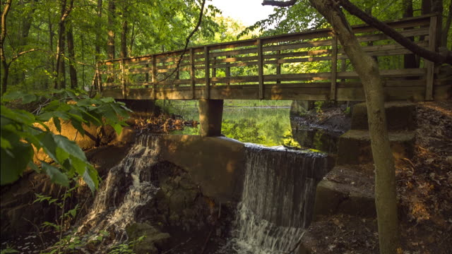 bridge over waterfall in englewood nj - jackson new jersey stock videos and b-roll footage