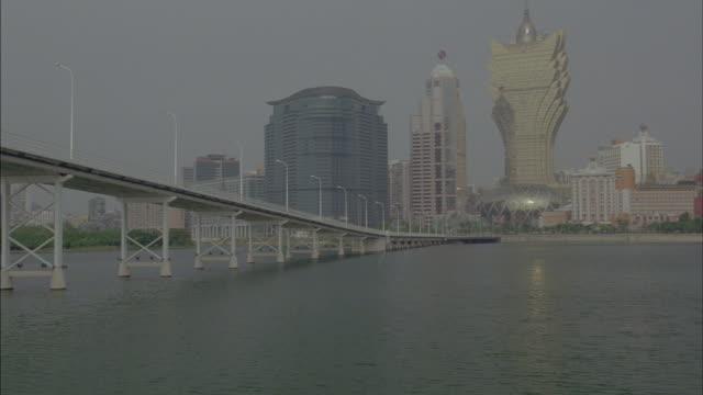A bridge spans the South China Sea near Macau, China.