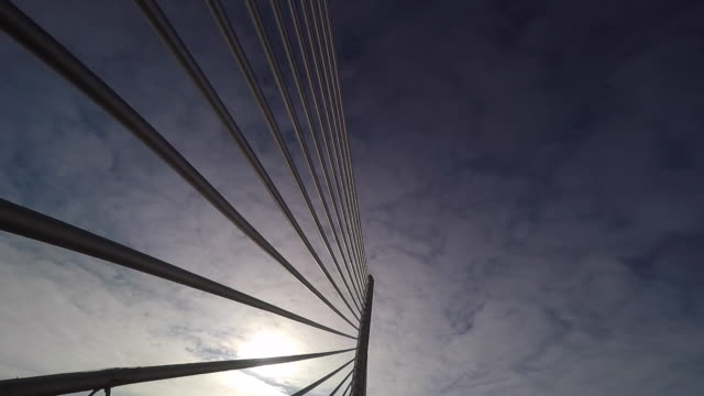 bridge support cable silhouette at sunrise - ohio stock videos & royalty-free footage