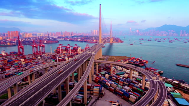 bridge to hong kong. - bridge built structure stock videos and b-roll footage