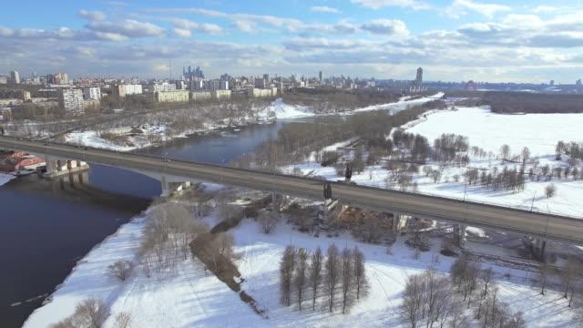 Bridge with car traffic in winter