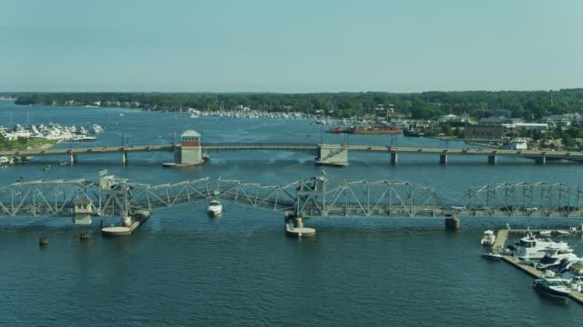 bridges across sturgeon bay in wisconsin - aerial - bascule bridge stock videos & royalty-free footage