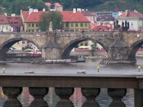 ms, bridges crossing river vltava, prague, czech republic - river vltava stock videos & royalty-free footage
