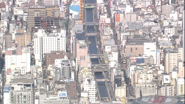 bridges span the dotonbori canal in osaka's entertainment district. - 日本語の文字点の映像素材/bロール