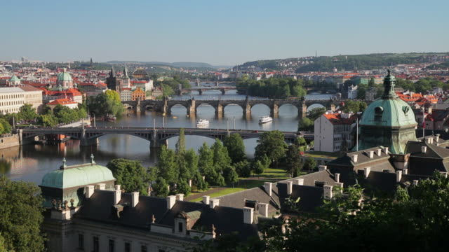 bridges span the vltava river in prague. - river vltava stock videos & royalty-free footage
