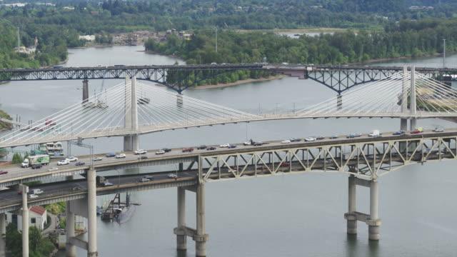 bridges spanning the river in portland, oregon - portland oregon stock videos & royalty-free footage