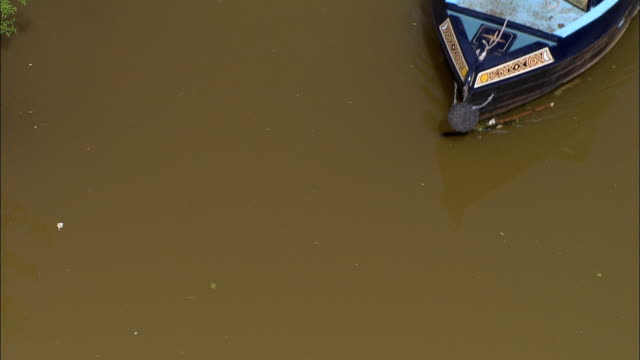 bridgewater canal  - aerial view - england, warrington, lymm, united kingdom - cheshire england stock videos & royalty-free footage