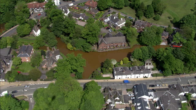 bridgewater canal at worsley delph  - aerial view - england, salford, united kingdom - salford quays stock videos & royalty-free footage