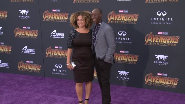 Bridgid Coulter and Don Cheadle at the Avengers Infinity War World Premiere on April 23 2018 in Hollywood California