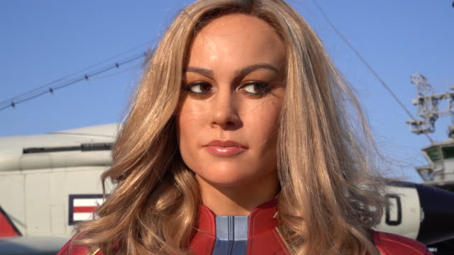 Brie Larson As Captain Marvel Figure Launches At Madame Tussauds New York at The Intrepid on March 07 2019 in New York City