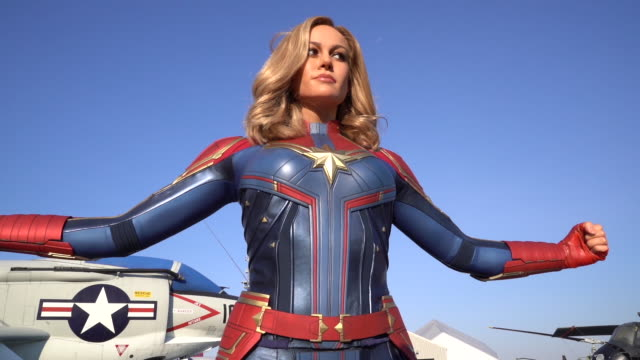 brie larson as captain marvel figure launches at madame tussauds new york at the intrepid on march 07 2019 in new york city - brie larson stock videos and b-roll footage