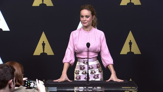 SPEECH Brie Larson at 88th Annual Oscars® Nominees Luncheon at The Beverly Hilton Hotel on February 08 2016 in Beverly Hills California