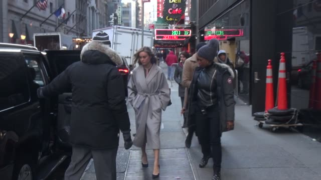 Brie Larson leaving the 'Good Morning America' show at Celebrity Sightings in New York on January 05 2016 in New York City
