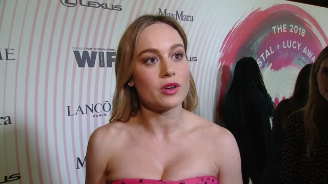 INTERVIEW Brie Larson on equal wages and progress of women in film at the Women in Film 2018 Crystal Lucy Awards Presented by Max Mara Lancome and...