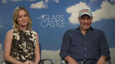 """brie larson & woody harrelson on their characters, celebrating life & speaking with her real life character at the """"the glass castle"""" junket on... - woody harrelson stock videos & royalty-free footage"""