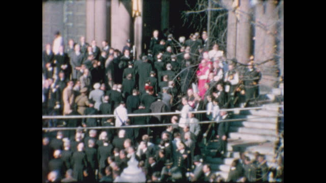 brief jfk's flag draped coffin in-between shots of dignitaries arriving at the cathedral of st. matthew the apostle for jfk's funeral service. - apostle stock videos & royalty-free footage