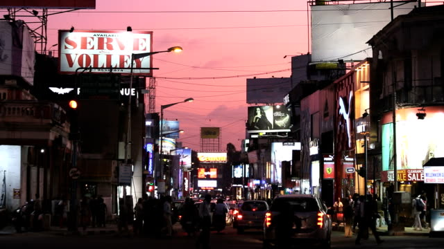 brigade road at sunset shopping street, bangalore, india - bangalore stock videos and b-roll footage