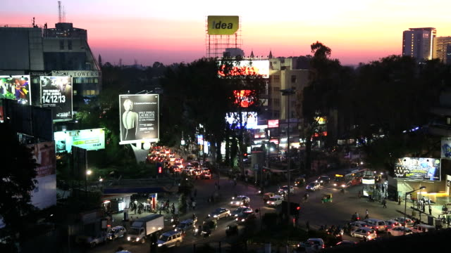 brigade road intersection shopping street, bangalore, india - bangalore stock videos and b-roll footage
