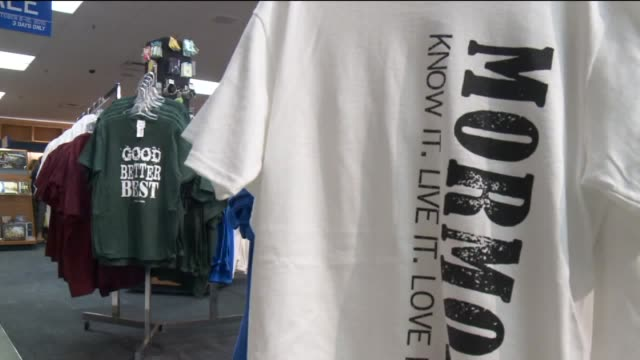 kstu brigham young university bookstore with mormonthemed shirts including 'ponderize' shirts that were involved in controversy when the phrase was... - christianity stock videos & royalty-free footage