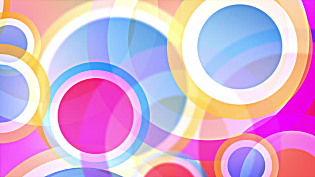 bright circles background loop - pastel rainbow (full hd) - physical structure stock videos & royalty-free footage