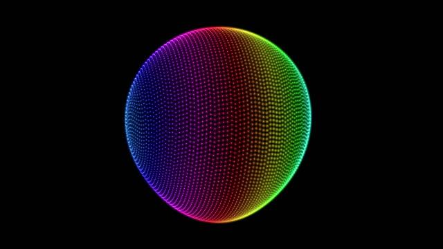 vidéos et rushes de boucle parfaite de la forme de filature lumineux coloré sphère 3d - infini