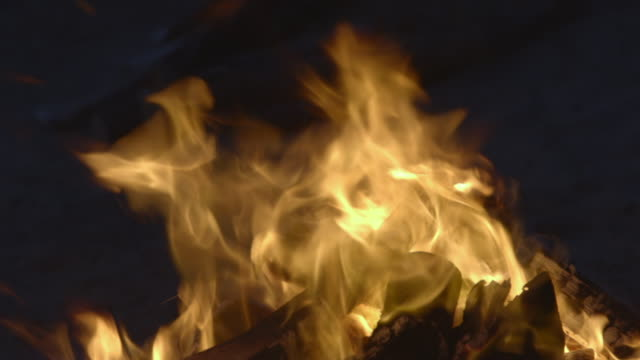 bright flames of a beach campfire at night - log stock videos & royalty-free footage