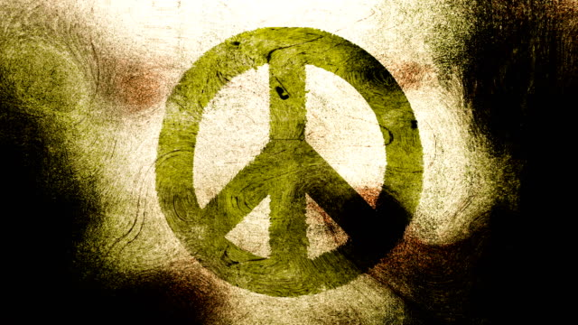 Bright Green, peace symbol on a high contrasted grungy and dirty, animated, distressed and smudged 4k video background with swirls and frame by frame motion feel with street style for the concepts of peace, world peace, no war, protest, and tranquility