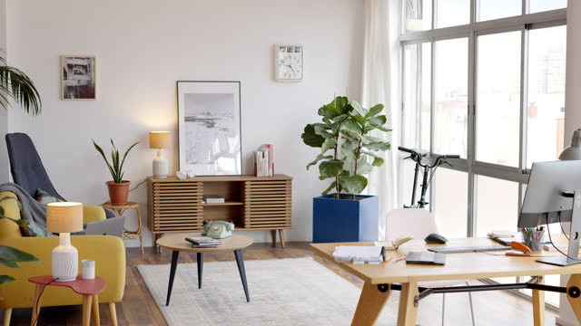 bright home office interior - loft apartment stock videos & royalty-free footage