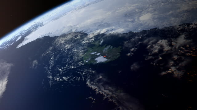gfx bright light from erupting volcano seen from space - digital animation stock videos & royalty-free footage