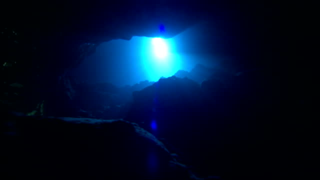 A bright light pierces through the darkness in an underwater cenote. Available in HD.