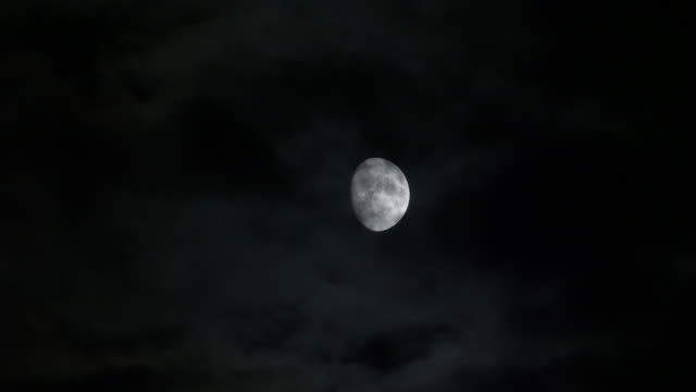 bright moon on the horizon. moonlight and fast moving clouds. - moon stock videos & royalty-free footage