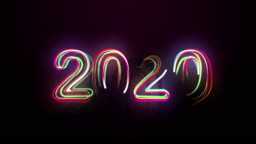 2020 Bright Multicolored Animation Numerals of the New Year Flicker and Glowing