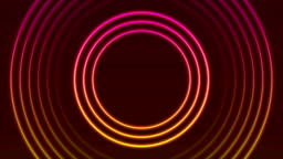 Bright neon circle rings abstract video animation