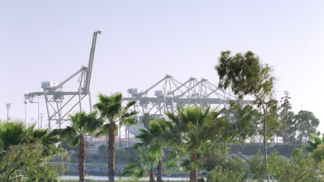 a bright sky silhouettes cargo loading cranes. - 2004 stock videos & royalty-free footage