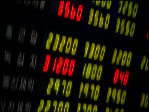 brightly colored electronic numbers on financial market boards - ware stock-videos und b-roll-filmmaterial