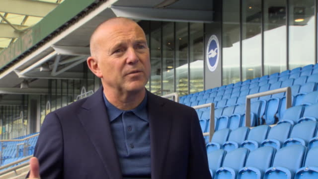 "brighton and hove albion fc ceo paul barber saying the club are ""delighted"" with welcoming back a small number of fans to the ground following... - taking a shot sport stock videos & royalty-free footage"