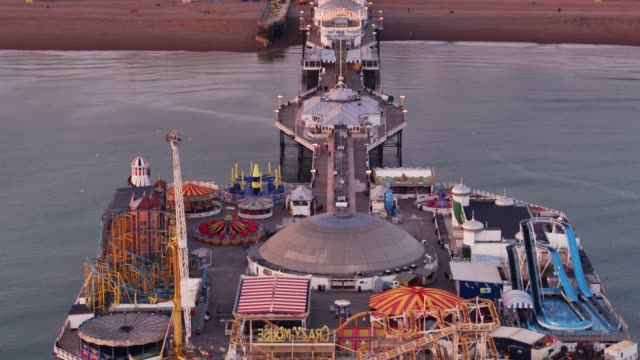 brighton and the palace pier - drone shot - brighton england stock videos and b-roll footage