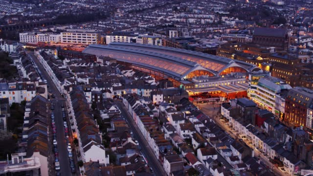brighton at nightfall from above - brighton england stock videos and b-roll footage