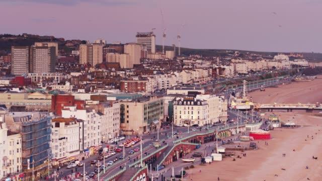 brighton at sunset - aerial shot - brighton england stock videos & royalty-free footage