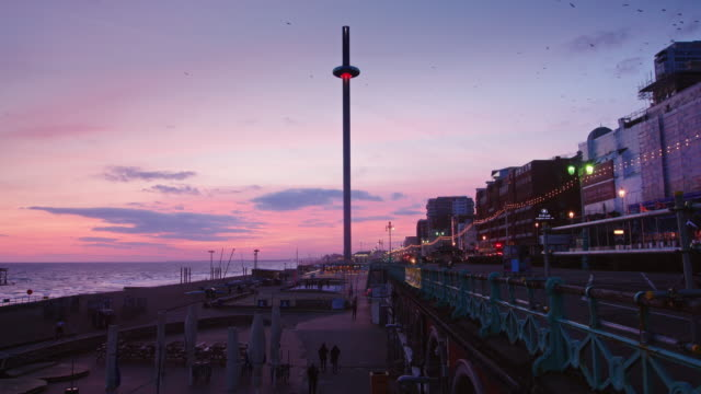 Brighton Beach and Sunset at Dusk